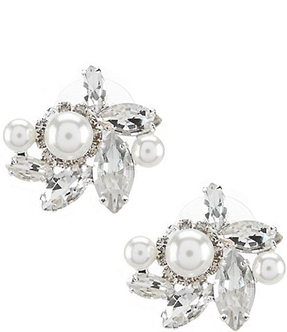 Cezanne Rhinestone & Faux-Pearl Cluster Earrings