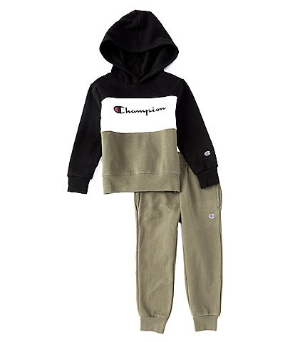 Champion Little Boys 2T-7 Colorblock Pullover Hoodie & Jogger Set
