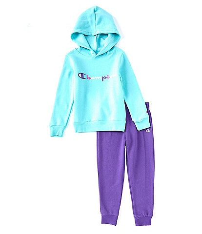 Champion Little Girls 2T-6X Colorful Script-Logo Pullover Hoodie & Jogger Set