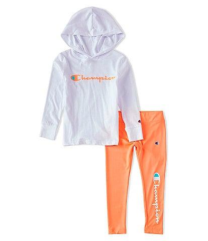 Champion Little Girls 2T-6X Long-Sleeve Hooded Tee & Essential Leggings Set