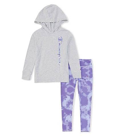 Champion Little Girls 2T-6X Long-Sleeve Hooded Tee & Tie-Dye Leggings Set