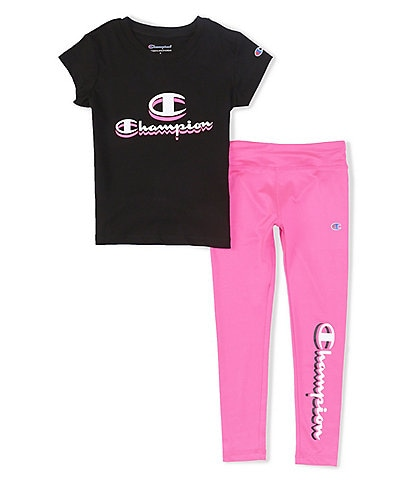 Champion Little Girls 2T-6X Short-Sleeve Shadow Logo Tee & Leggings Set