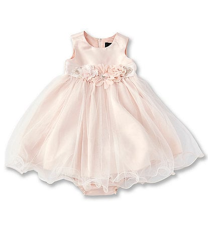 Chantilly Place Baby Girls 12-24 Months Floral-Belt Satin/Mesh Fit-And-Flare Dress