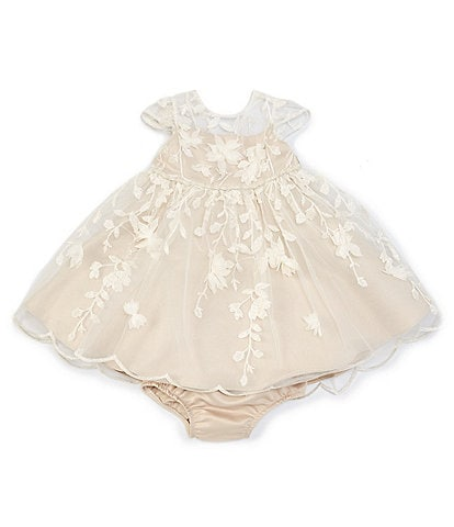 Chantilly Place Baby Girls 12-24 Months Illusion 3D-Floral Embroidered Fit-And-Flare Dress