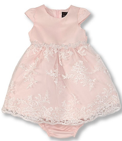 Chantilly Place Baby Girls 12-24 Months Satin/Embroidered A-Line Dress