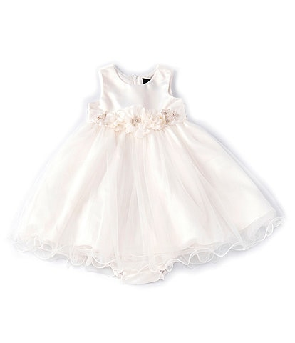 Chantilly Place Baby Girls 12-24 Months Satin/Mesh-Overlay Fit-And-Flare Dress