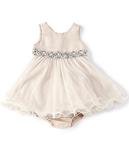 Chantilly Place Baby Girls 3-24 Months Satin/Mesh Wire-Hem Fit-And-Flare Dress