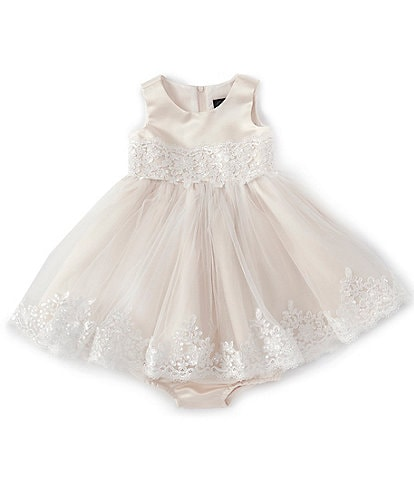 Chantilly Place Baby Girls 3-24 Months Scalloped-Lace Satin Fit-And-Flare Dress
