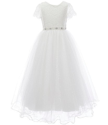 Chantilly Place Big Girls 7-14 Illusion Lace/Glitter Mesh Ball Gown