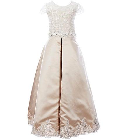 Chantilly Place Big Girls 7-14 Illusion Lace/Satin Cap Sleeve A-Line Dress
