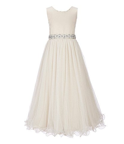 Chantilly Place Big Girls 7-16 Beaded-Waist Wire-Hem Long Dress
