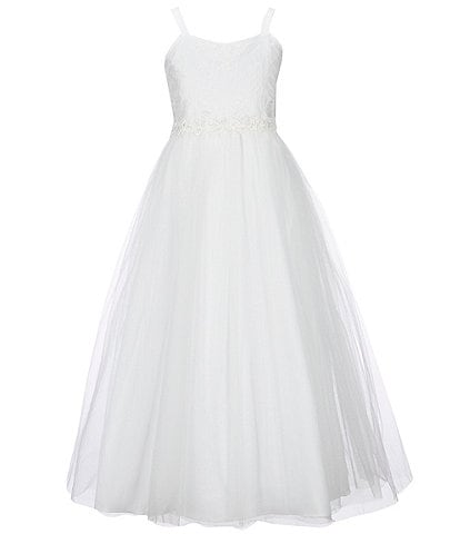 Chantilly Place Big Girls 7-16 Bow-Back Lace/Mesh Ball Gown