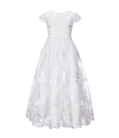 Chantilly Place Big Girls 7-16 Embroidered Lace Tea-Length Dress
