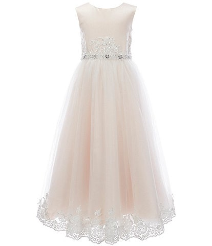 Chantilly Place Big Girls 7-16 Embroidered-Trim Satin/Tulle Fit-And-Flare Ball Gown