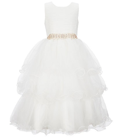 Chantilly Place Big Girls 7-16 Pleated/Tiered Wire-Hem Fit-And-Flare Ball Gown