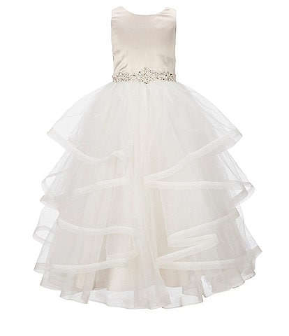 Chantilly Place Big Girls 7-16 Satin/Mesh Cascading Ballgown