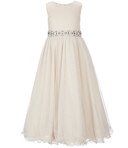 Chantilly Place Little Girls 2T-6X Beaded-Waist Wire-Hem Long Dress