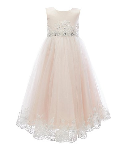 Chantilly Place Little Girls 2T-6X Embroidered-Trim Satin/Tulle Fit-And-Flare Ball Gown