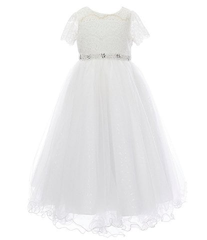 Chantilly Place Little Girls 2T-6X Illusion Lace/Mesh Ballgown