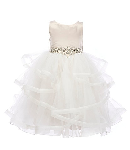 Chantilly Place Little Girls 2T-6X Satin/Mesh Cascading Ball Gown