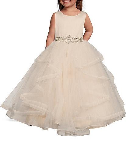 Chantilly Place Little Girls 2T-6X Satin/Mesh Cascading Ball Gown
