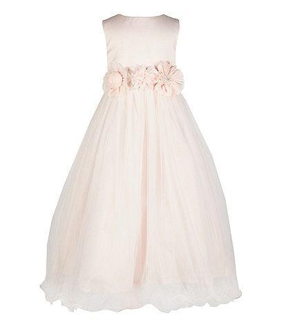 Chantilly Place Little Girls 2T-6X Sleeveless Satin/Mesh Gown Dress