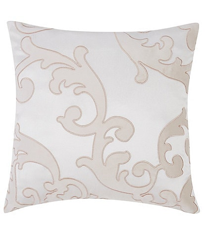 Charisma Melange Scroll Square Embroidered Decorative Pillow