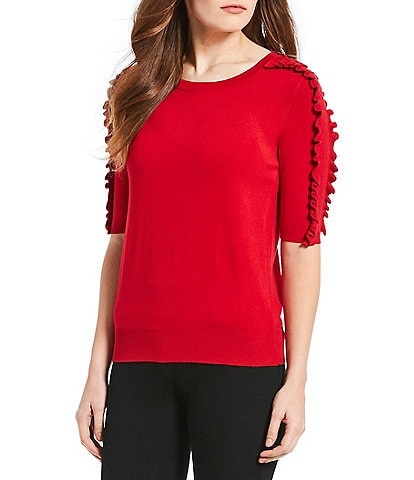 Chelsea & Theodore Elbow Sleeve Ruffle Trim Top