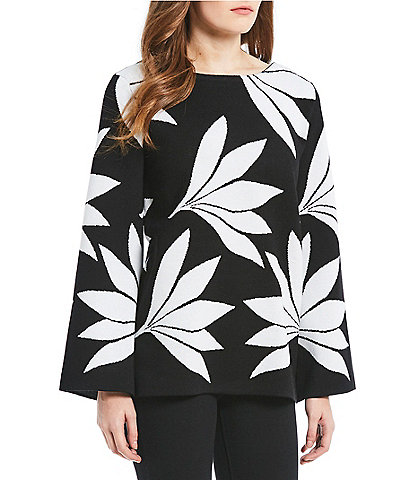 Chelsea & Theodore Leaf Print Wide Sleeve Sweater