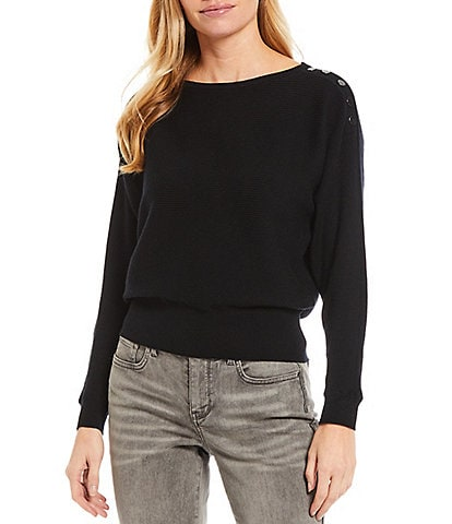 Chelsea & Theodore Long Dolman Sleeve Boat Neck Ribbed Snap Sweater