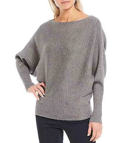 Chelsea & Theodore Long Dolman Sleeve Lurex Bateau Neck Ribbed Pullover Slouchy Sweater