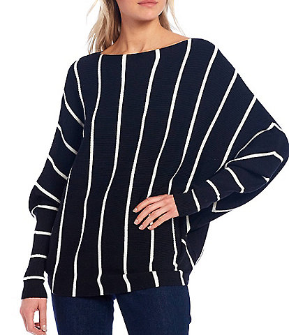 Chelsea & Theodore Long Dolman Sleeve Striped Pull Over Slouchy Knit Top