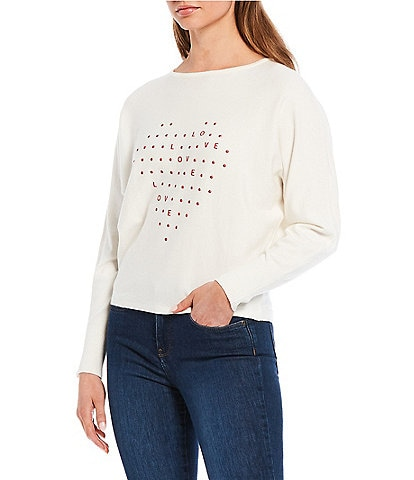 Chelsea & Theodore Long Sleeve Boat Neck Dolman Heart Pullover Sweater