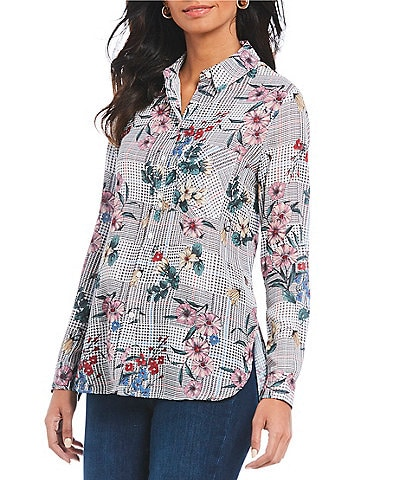 Chelsea & Theodore Petite Size Patched Houndstooth Floral Print Button Front Blouse