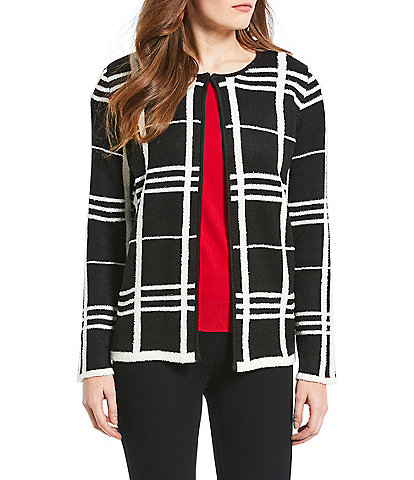 Chelsea & Theodore Petite Size Plaid Hook Front Jacket