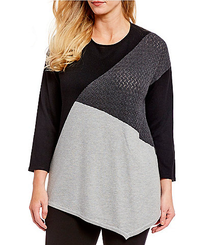 Chelsea & Theodore Plus Size Asymmetrical Hem Colorblock Long Sleeve Cashmere Knit Top