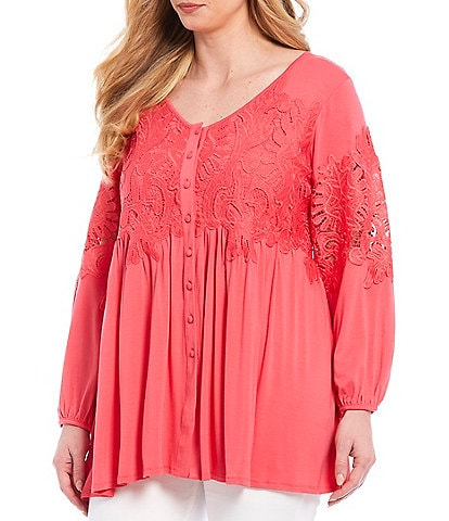 Chelsea & Theodore Plus Size Button Down Leaf Lace Applique Long Balloon Sleeve Top
