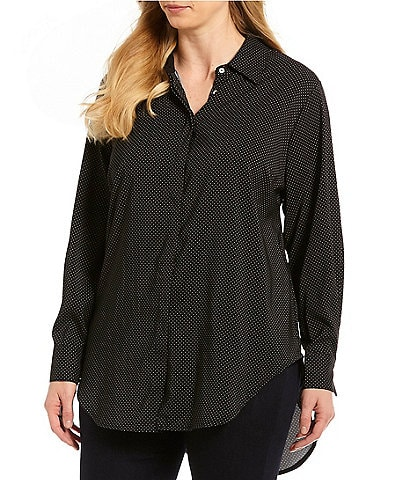 Chelsea & Theodore Plus Size Button-Down Micro Dot Print Tunic
