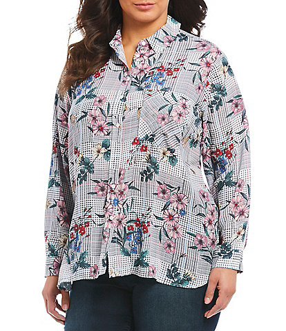 Chelsea & Theodore Plus Size Houndstooth Floral Print Button Front Blouse