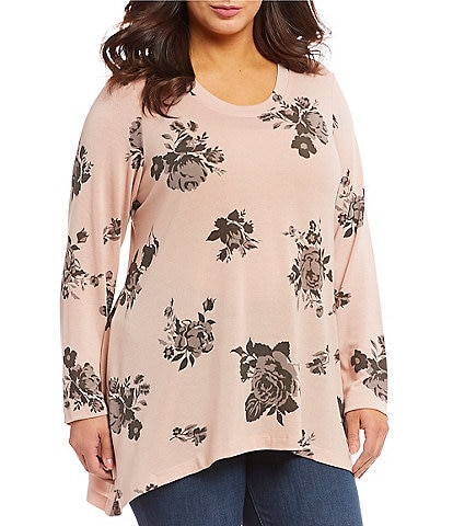 Chelsea & Theodore Plus Size Knit High Low Floral Print Tunic Top