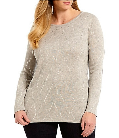 Chelsea & Theodore Plus Size Studded Pullover