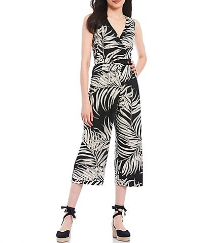 Chelsea & Theodore Sleeveless Cross Front Leaf Print Wide Leg Crop Linen Blend Jumpsuit