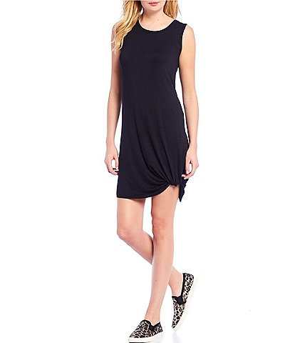 Chelsea & Theodore Sleeveless Scoop Neck Stretchy Dress With Twist Front Detail