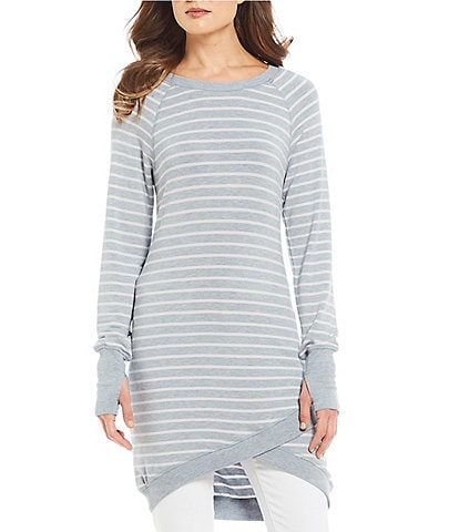 Chelsea & Theodore Striped Crossover Hem Tunic