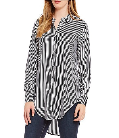 Chelsea & Theodore Striped Long Sleeve Button Front Tunic