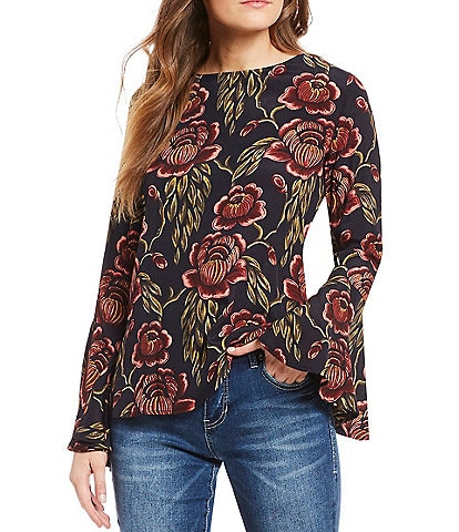 Chelsea & Theodore Woven Floral Print Bell Sleeve Top