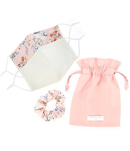 Chelsea & Violet 2-Piece Cream Combo Solid/Floral Adjustable Cloth Face Masks, Scrunchie & Sachet Set
