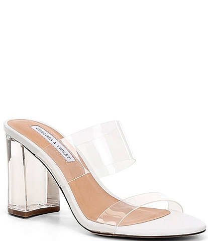 Chelsea & Violet Amore Clear Lucite Block Heel Sandals