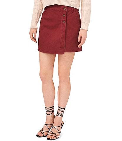 Chelsea & Violet Asymmetrical Hem Pocketed Suede Denim Mini Skirt