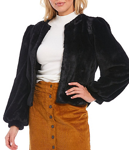 Chelsea & Violet Balloon Sleeve Faux Fur Jacket
